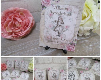 8 Alice In Wonderland Tattered Edge Chapter Table Number Cards Decoration,Wedding,Venue,Party,