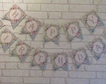 Shabby Chic Rose Happy Birthday Bunting Banner Garland ,Birthday,Party,