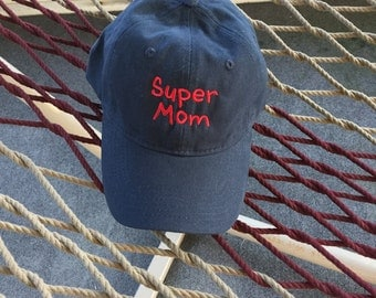 Super Mom - Navy Hat With Red Lettering