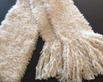 GetWoolly cream, oatmeal, soft, fluffy handknitted, long scarf with tassels