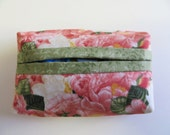 Pocket Tissue Holder - Tissue Cover - Travel Tissue Holder - Purse Tissue Package - Pink Roses Fabric
