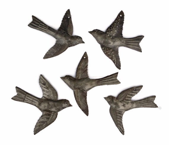 Set of 5 Garden Birds, Handmade Wall Art, Haiti Metal Art, Folk Art, Spring Garden, Bird Collectibles, Recycled Hammered Steel