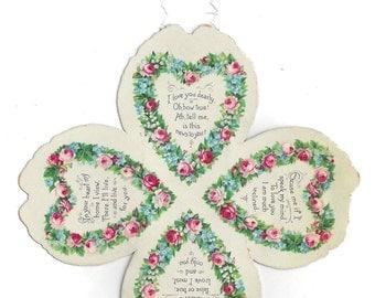 Victorian Hanging Valentine Ca. 1890 Four Leaf Clover Heart Shape