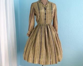 Small 27 Waist 1950s Full Striped Silk Dress