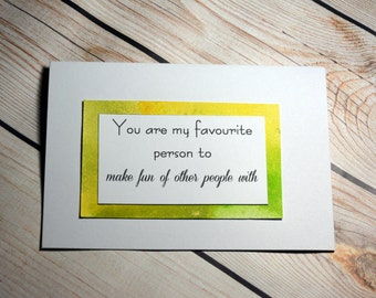 Happy valentines card/ love card/ you're my favourite/ personalised card