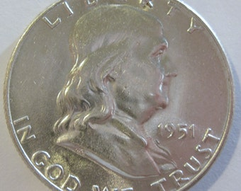 1951 silver Franklin half dollar coin (#E128m)