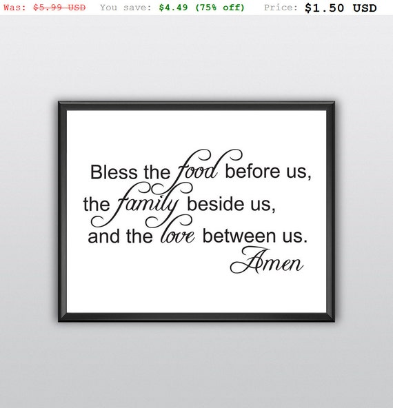 75% off Bless the Food Family Love Wall Art Decor Lettering Word Quote Printable (T218)