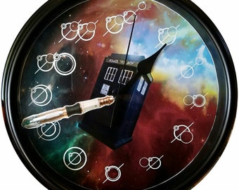 Doctor Who clock with Gallifreyan numbers, Tardis in space