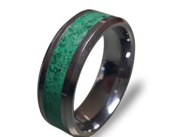 Tungsten Carbide Ring with Glow in the Dark powder and Malachite Inlay, Tungsten Ring, Mens Wedding Band, Mens Ring, Womens Ring, Engagement
