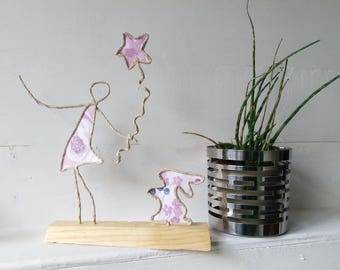 Girl and Rabbit French Style Sculpture Gift Bunny Daughter Pink