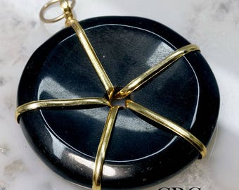 Gold Plated Wire Wrapped Black Agate Donut Pendant (WD12DG)