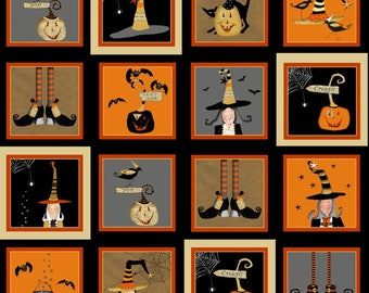 Halloween Blocks Fabric Witchy Studio E Cute Halloween Witches Pumpkins Cotton Fabric