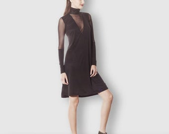 SALE, See Through Turtle Neck Dress