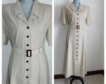 90s Beige Casual Day Dress by JDB Jandabar Size 12  Unused Vintage