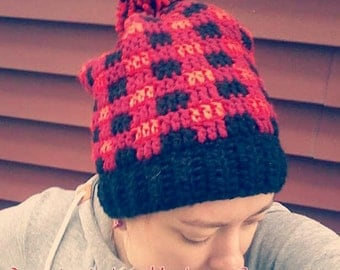 Plaid crochet slouchy beanie