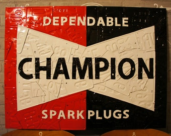 Champion Spark Plugs Sign Made from License Plates