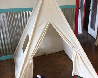 Large 4 pole teepee with poles and window, made of natural canvas 5ft at bottom and 76inches tall
