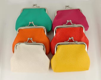 Faux leather coin purse kiss lock snap top coin wallet pouch change purse Teal Cream Orange Mustard Yellow Dark Coral Red Pink textured