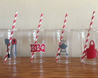 BBQ party cups, baby-q party cups, Barbeque Party, BABY Q shower