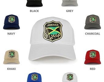 Jamaica Flag and Text Emblem Iron on Patch Adjustable Baseball Cap (27-079-JAM-EMBLM)