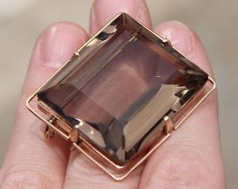 14K 585 solid rose pink gold smoky quartz breath-taking pin brooch 22 grams