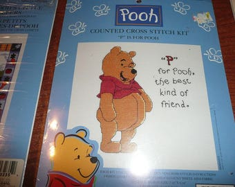Winnie The Pooh Counted Cross Stitch Kits-P Is For Pooh, Pooh's Little Helpers, Blustery Day,Balloon Ride, Friends Are For Leaning On,More