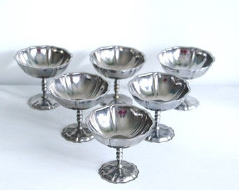 Vintage stainless steel dessert or ice cream Cup. Set of 6 (6 x)