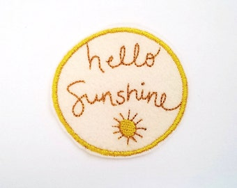 Hello Sunshine Patch/Embroidered Patch/Kids Patch/Patches for Jackets/Iron On/Sew On Patch/Wool Felt