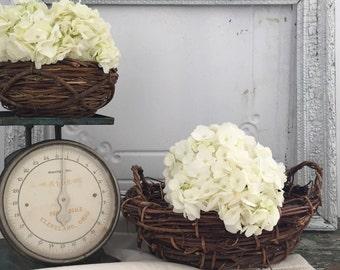 Rustic Twig Basket Set of 2 Wedding Decor