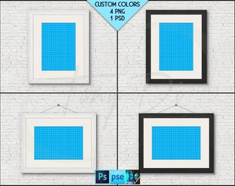 A4 21x30cm Frame on White Background Mockup W1, White Black Wood Portrait Landscape Matted Frame, Photoshop, Wall art Mock-up, PNG scene