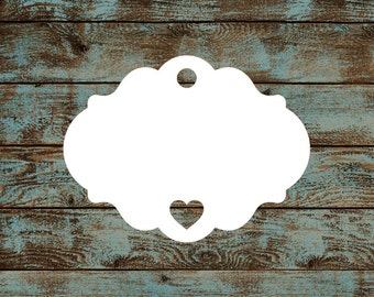 35 Favor Tags, Gift Tags, Hang Tags, Blank, Fancy Rounded Victorian #659