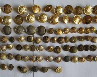 Vintage Soviet military buttons. Lot of 85 buttons.