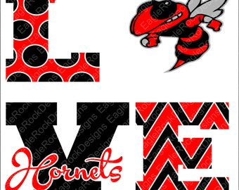 Love Hornets| SVG| DXF| EPS| Png| Cut File| Hornets| Mascot| Mom| Cheer| Football| Basketball| Silhouette| Cricut| Vector| Instant Download