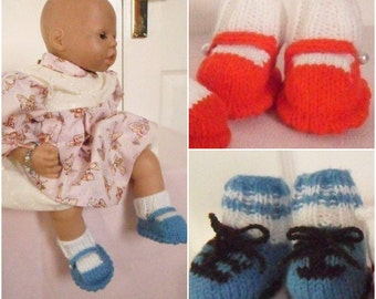 Baby Knitting patterns: Shoes/Football boots sizes from Doll size to 0-3mths