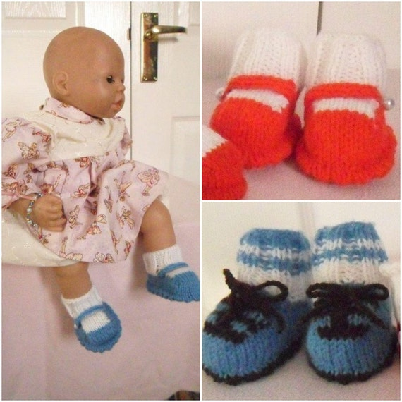 Baby Knitting pattern: Shoes/Football boots sizes from Doll size to 0-3mths