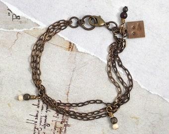 Solid brass bracelet Dainty chain bracelet Oxidized chain link bracelet Multi strand chain jewelry Brown bracelet with chain Rustic bracelet