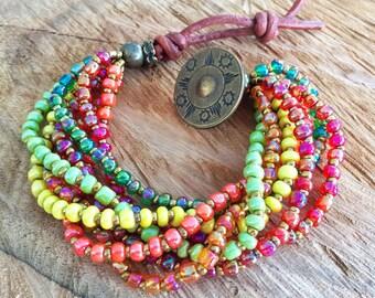 Multicolors gipsy bracelet, Gipsy Beaded bracelet, yellow bracelet, green, orange bracelet, colorful beads bracelet, talisman bracelet