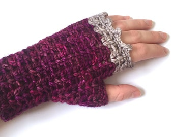 Fingerless gloves, crochet handwarmers, berry colour extrafine merino gloves