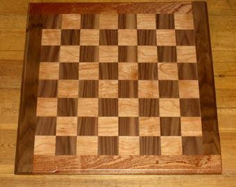 Wooden cherry & walnut chess board
