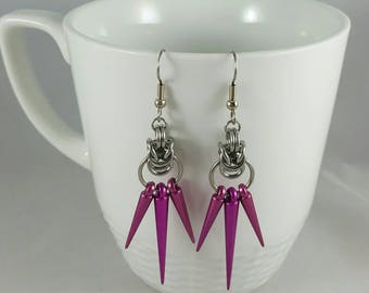 Stainless Steel Byzantine Chainmaille Spike Earrings