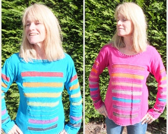 Ladies Long Sleeve Top Colourful Boho Hippy Panel Stripe Stonewash 8 10