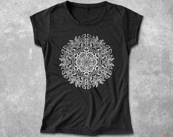 Mandala Meditation Graphic Shirt for Women T-Shirt Stencil Meditation Design Screen Print Shirt for her - Light, Soft & Comfy Cotton Blend