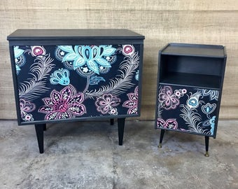 Mid-Century Hand-painted Chest of Drawers/Bedside Table set