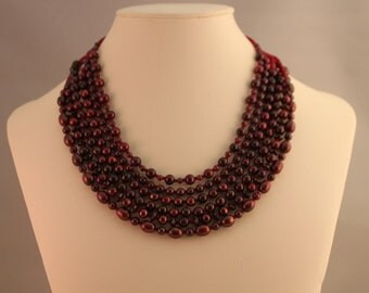 Cranberry Pearl and Garnet Multi-Strand Beaded Necklace