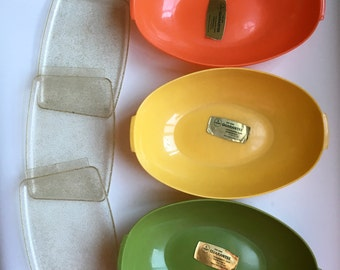 Vintage Snack Trays / Retro Bowls and Mini Trays / Set of Six / 70s Plastic Bowls Orange Yellow Avocado Green / Trinket Trays w Glitter