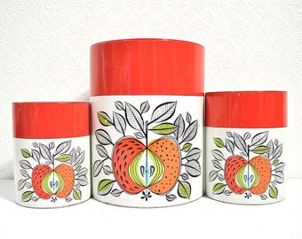 Apple Canister Set- 3 Scandinavian Style Red, Orange, and Green Nesting Tins from Creative Imports, Scandinavian Kitchen Decor