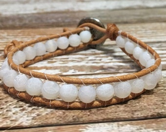 Healing Crystal Bracelet / Clear Quartz Bracelet / Chakra Healing Bracelet / Single Wrap Bracelet / Chan Luu Style Bracelet