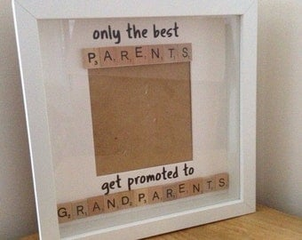 Scrabble frame - only the best parents get promoted to grandparents - keepsake photo frame