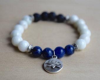 Serpentine Bracelet / Sodalite Bracelet / Lotus Charm Bracelet / Essential Oil Diffuser Bracelet / Meditation Bracelet / Yoga Bracelet