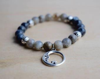New Moon Bracelet / Astrology Bracelet / Moon Witch / Genuine Gemstone / Meditation Bracelet / Larvikite Bracelet / Labradorite Bracelet